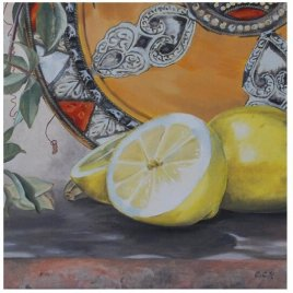 Spanish Lemons still life painting