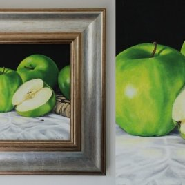 Apples still life painting