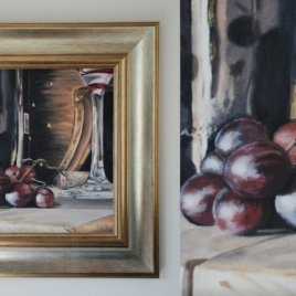 Grapes still life painting