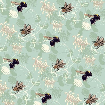 BH00-14 BUMBLEBEES AND HONEYSUCKLE